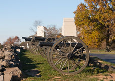 Artillery at Gettysburg. Union cannon looking over a Gettysburg battlefield Royalty Free Stock Photo