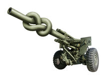 Artillery Gun. Photo-illustration of an old artillery gun with the barrel tied in a knot Royalty Free Stock Photo