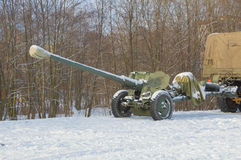 Artillery gun attached to the car for transport Royalty Free Stock Photo