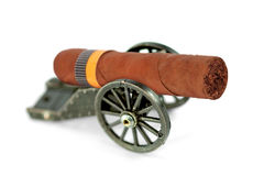 Artillery gun carriage and a cigar Royalty Free Stock Photography