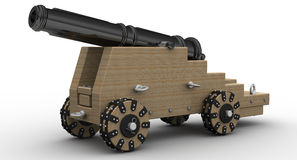 Artillery gun. 3d illustration of ancient an artillery gun in shades of gray Royalty Free Stock Photo