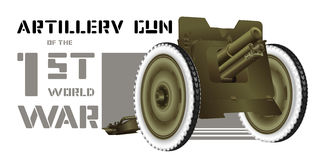 Artillery gun. Drawing artillery gun of World War I Royalty Free Stock Photo