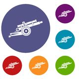 Artillery gun icons set. In flat circle reb, blue and green color for web Royalty Free Stock Image