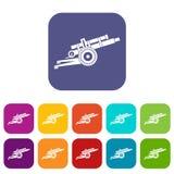 Artillery gun icons set Stock Photography