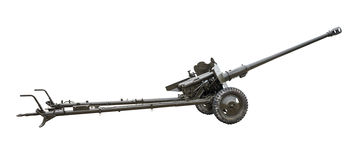 Artillery gun. Isolated on a white background Stock Photo