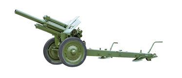 Artillery gun. 122 mm Howitzer M-30 green color on a white background Royalty Free Stock Images