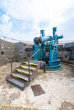 Artillery gun. An old artillery gun in a defensive position near Falmouth, England Royalty Free Stock Images