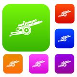 Artillery gun set collection. Artillery gun set icon in different colors isolated vector illustration. Premium collection Royalty Free Stock Photo