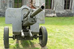 Artillery gun from the World War II age stock images