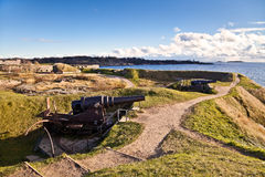 Artillery guns. On the island Suomenlinna. Finland Royalty Free Stock Images