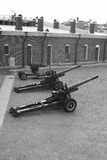 Artillery guns in the fortress. Black and white stock image