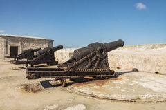 Artillery guns Morro Castle Havana. Old rusty artillery guns at Morro Castle (Spanish: Castillo de los Tres Reyes Magos del Morro). The fortress guarding the Royalty Free Stock Images