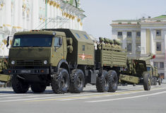 Artillery KAMAZ-6350 with a gun at the rehearsal of parade in honor of Victory Day. Saint Petersburg Stock Photography