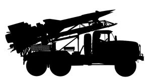 Artillery Launcher truck  silhouette. Rocket carrier with nuclear bomb. Artillery Launcher truck  silhouette illustration. Rocket carrier with nuclear bomb Royalty Free Stock Photos