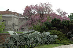 Artillery museum display. WWI artillery pieces on display in Belgrade army museum, Serbia Stock Photos