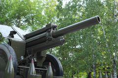 Artillery piece. In the park Royalty Free Stock Photography