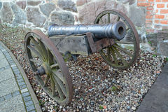 Artillery piece of the XVIII century on a wooden gun carriage.  Stock Image