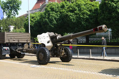Artillery pieces howitzers D-20 152 mm on military hardware parade. stock image
