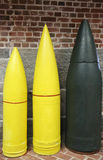 Artillery Projectiles: 10-inch, 12-inch and 16-inch Armor Piercings Royalty Free Stock Photos