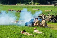 Artillery regiment of Polish Independent Parachute Brigade in action. Royalty Free Stock Images