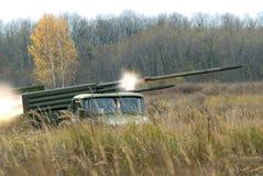 Artillery system BM-21. Royalty Free Stock Photos