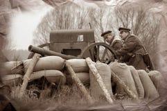 Artillery team. WWI. Reenacting Civil War in Russia. 1918. Kiev,Ukraine Stock Photography