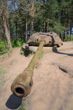 Artillery tower installation, AFDS on the base of the tower tank is-4, sunny may day Stock Image