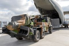 Artillery truck military cargo A400 plane Stock Images