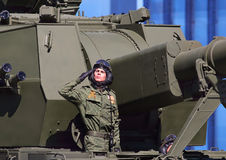Artilleryman at the military parade Royalty Free Stock Photos