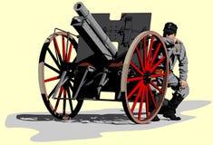 Artilleryman World War I. Illustration vector Royalty Free Stock Image
