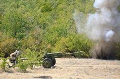 Artilleurs sous l'attaque Photographie stock