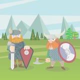 Artillustration des Vektors mit zwei Wikinger-Kriegern flache Stockfotografie
