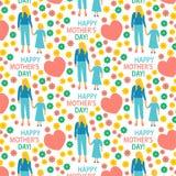 Artillustration Mutter der Grußkarte flache mit der glücklichen nahtlosem Musterdruck Mutterschaftstochter des Kindermuttertagpla stock abbildung