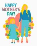 Artillustration Mutter der Gru?karte flache mit der gl?cklichen nahtlosem Musterdruck Mutterschaftstochter des Kindermuttertagpla vektor abbildung