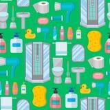 Artillustrationshygienedesigns des Badezimmers der Badausrüstungs-Toilettenschüssel nahtloser Musterhintergrund des sauberen flac Stockbilder