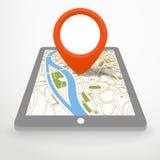 Artilugio moderno con el mapa abstracto de la ciudad Imagen de archivo libre de regalías