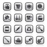 Artilugios de la cocina e iconos blancos y negros del equipo Foto de archivo libre de regalías