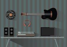 Artilugios e instrumentos de la música Músico, DJ, lugar de trabajo del friki en estilo plano Ilustración del vector Imagen de archivo libre de regalías