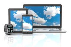 Artilugios incluyendo el smartphone, smartwatch, digital stock de ilustración