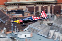 Artin Sonka with N806PB Zivko Edge 540 flying over Danube river in Budapest downtown at Red Bull Air Race 2018 stock photos