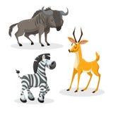 Artiodactyls africanos del estilo de moda de la historieta fijados Ñu, antílope, gacela, ñu y cebra Ojos cerrados y mascotas aleg Fotos de archivo