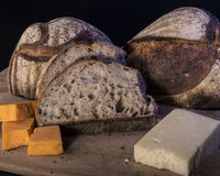 Artisan Bread With Cheese. Artisan Bread with Parmesan and Cheddar Cheese stock images