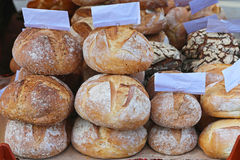 Artisan bread. Hand made artisan bread at bakery shelf Royalty Free Stock Image