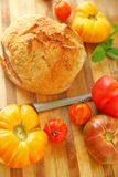 Artisan bread with heirloom tomatoes Stock Photo