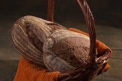 Artisan Bread Sourdough and Rye 3. Artisan Bread Sourdough, Rye in bread basket royalty free stock image