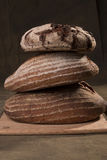 Artisan Bread Sourdough, Rye. Stacked stock images