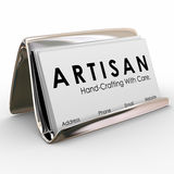 Artisan Business Card Holder Hand Crafting Made Products Stock Photos