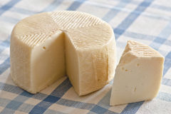 Artisan Cheese. On blue checkered tablecloth stock image