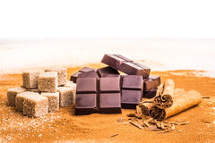 Artisan Chocolate. With some of the ingriedients that goe in to these chocolates Stock Photography