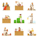 Artisan Craftsmanship Masters, Adult People And Craft Hobbies And Professions Set Of Vector Illustrations. Stock Photo